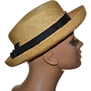 SOLD Tina Too Natural Straw w/ Black Bow Boater Hat