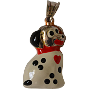 SALE Cute 3D Sterling Silver & White Enamel Dalmatian Puppy Dog Charm
