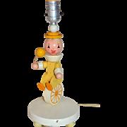 1960s Irmi Nursery Plastics Folk Art Clown on Unicycle Wood Lamp
