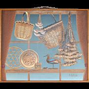 """SALE HUGE 45"""" Signed Folk Art Style Bird & Basket Framed Oil Painting"""
