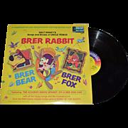 SALE 1970 Disneyland Brer Rabbit, Brer Bear, Brer Fox Songs & Stories LP Record w/ Illustrated
