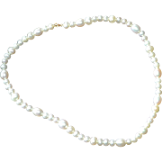SALE 14K Lustrous White Cultured Pearl Child's Necklace