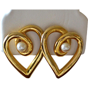 SALE Large Faux White Pearl Heart Pierced Earrings