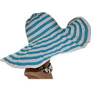 SOLD Magid Caribbean Blue & White ULTRA WIDE Flexible Wire Brim Sun Hat
