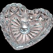 SALE Vintage Cut Lead Crystal Glass Heart Ring Holder