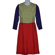 1970s Jeane Eddy Designer Purple, Sage Green, Reddish-Orange Color Block Dress