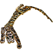 "SALE Huge 7"" Black Enamel & Rhinestone TIGER Shoulder Brooch/Pin"