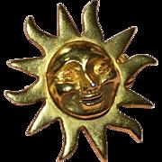 SALE Alva Studios Smiling Sun Gold Plated Pin/Brooch