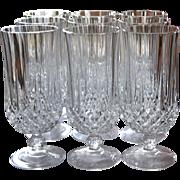 SALE Cristal d' Arques Longchamp Set of 9 Lead Crystal Iced Tea Glasses