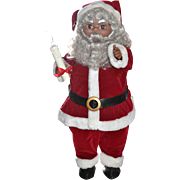 "SALE Large 24"" Animated African American Electric Mechanical Christmas Santa Claus ~ WORK"