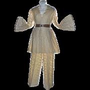 SALE Nardiello for Rona Cream Crochet Lace Bell Sleeve Blazer & Jacket Pant Suit ~ Near Mint!
