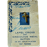 SALE Petite 24K Gold Plated Lapel Cross & Miraculous Medal on Original Card