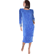 SALE Karen Lawrence Pleated Royal Blue Sequin Sleeve Semi-Formal Dress