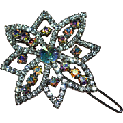 SALE Large Sparkly Prong-Set Aurora Borealis Rhinestone Flower Inspired Hair Barrette
