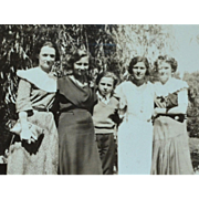 SALE 1930s Small Black & White Photo of Lovely Women Family
