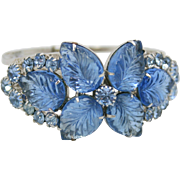 Vintage Juliana (D&E) Book Piece Blue Carved Glass Leaf & Rhinestone Clamper Bracelet