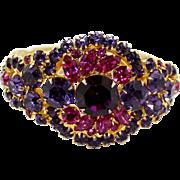 Vintage Juliana (D&E) Fuchsia Pink, Cardinal (purple) Rhinestone Clamper Bracelet