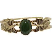 Vintage Jade Glass & Metal Leaf Clamper Bracelet