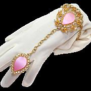 SALE Vintage Juliana (D&E) Book Piece Thermo Plastic Pink Slave Bracelet