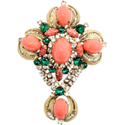 SALE Vintage Juliana (D&E) Coral High Domed & Green Glass Cabochon Cross Brooch