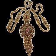SALE Vintage Juliana (D&E) Book Piece Ball Chain & Topaz Star Stone & Rhinestone Necklace
