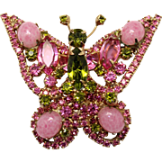 Vintage Juliana (D&E) Book Piece Pink Marbled Cabochon & Olivine Green Rhinestone Butterfly Br
