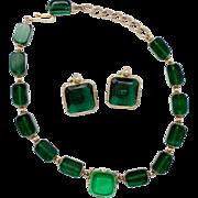 Vintage Kramer Deep Green Emerald Cut Bead Demi Parure