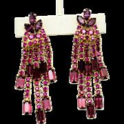 Vintage Fuchsia Pink & Purple Rhinestone Dangle Drop Earrings
