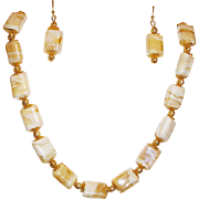 Glass Beads Pillow Shape Butterscotch Cream Necklace and Earrings Set