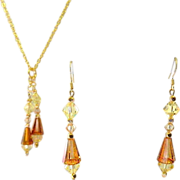 Artemis Crystals and Gold Plated Chain Necklace  Earrings