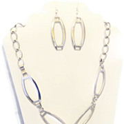 Long Links Silver Tone and Silver Plated Necklace and Earrings