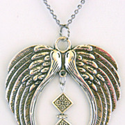 Antiqued Silver Plated Wings Pendant on Long Silver Plated Chain