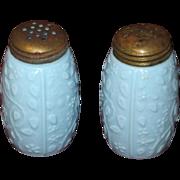 Victorian Opaque Glass Salt & Pepper Set, Robin's Egg Blue Floral Motif, 1890s