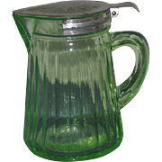 1920s-30s Green Glass Syrup Pitcher with Spring-Load Lid