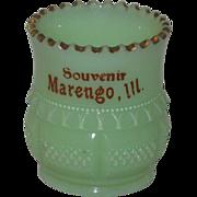 Custard Glass Souvenir Toothpick Holder, Tarentum Glass 1899, Marengo, IL