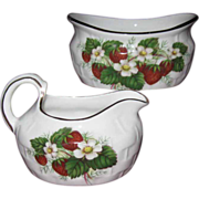 Vintage Hammersley Bone China 'Strawberry Ripe' Cream & Sugar Set, Basket Pattern