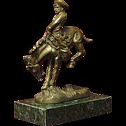 Remington Bronze, Fine Small 'Outlaw' Statuette, Cowboy on Bronco, Marble Base