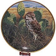 "Spode China ""Prairie Sundown"" Burrowing Owl Collector's Plate, Nature Artist John Seerey"