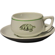 Pre WWII Bauscher Sea Turtle Transfer Restaurant Ware Demitasse Set
