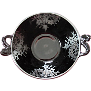 Black Glass Round Bowl with Silver Overlay, Dolphin Handles