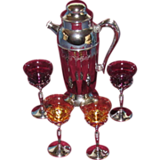 SOLD Chrome Plated Cocktail Shaker with 4 Morgantown Glass and Chrome Stems