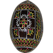 Eastern European or Russian Hand Painted Black Wooden Egg