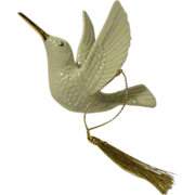 SOLD Lenox Hummingbird Ornament with Gold Cord and Tassel - Red Tag Sale Item