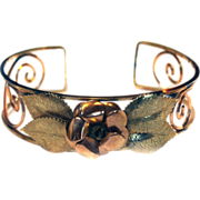 1/20 12k Rose Yellow Gold BANGLE Cuff Roses Bracelet