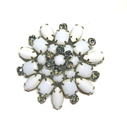 Large Milk Glass Smoky Rhinestone Milkglass Pin Brooch STARBURST Vintage