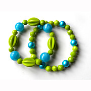 Two Stretch Plastic Beads Bracelets Funky BEADS Re Purposed