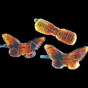 Butterscotch Rootbeer Celluloid Barrettes Three Butterflies Bow Hair Clips
