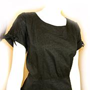 SOLD 1950s Rockabilly BLACK Flirty Dress Textured COTTON Ladies Size12