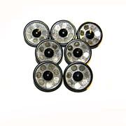 "7 Art Deco MIRROR Buttons Metal Shank UNUSUAL 7/8"""