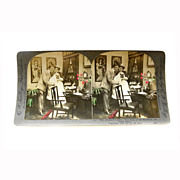 """REDUCED Stereo View Card ALBUMEN Tinted 1903 E W Kelley Rau """"The Stork's Visit"""""""